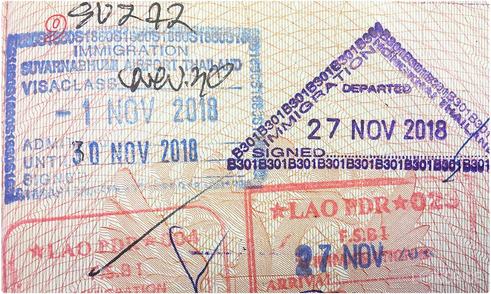 Въездной штамп в Таиланд вместо визы (на 30 дней)